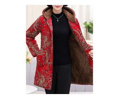Winter Fleece Thicken Print Hooded Coats