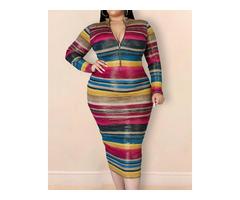 Plus Size Zipper Design Colorblock Dress