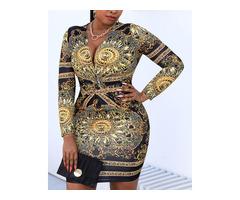 Plus Size Retro Print Twist Front Long Sleeve Dress