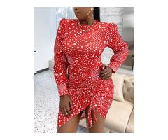 Plus Size Dot Print Puffed Sleeve Drawstring Ruched Dress