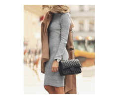 Autumn Long Sleeve Bodycon Dress - Gray