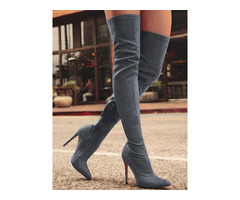 Knee-High Pointed Toe Heels Red Boots - Gray