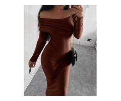 Ribbed Slit Long Sleeve Knit Maxi Dress