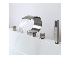 Roman Brushed Nickel Waterfall Romen Tub Faucets with Hand Shower