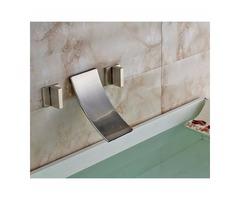Wall Mount Brushed Dual Handle Bathroom Sink Faucet