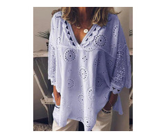 V Neck Broderie Anglaise Lace Blouse
