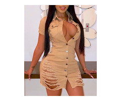 Short Sleeve Destroyed Button Up Dress