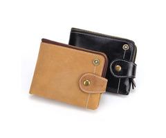 Men Genuine Leather Retro Short Wallet Card Holder