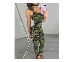 Camouflage Print Scoop Neck Lace Up Jumpsuit