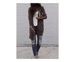 Fashion Solid Pocket Cardigans Coat