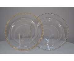Gold/Silver Beaded Edge Clear Glass Chargers Plates 13""