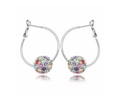 Genuine Gold Plated Colorful Ball Rhinestone Hoop Diamond Stud Earrings Manufacturer
