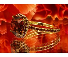 Custom Made Halo Ring Featuring 3.79 Carat Terra-Cotta Tourmaline and Red Diamond Pave