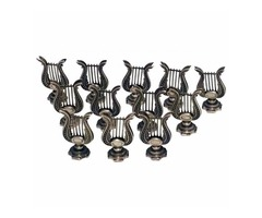 Set of 12 English Sterling Silver Lyre Instrument Place Card Holders
