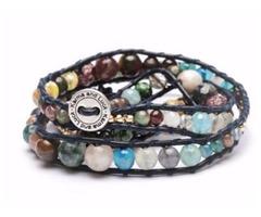 Multi Stone Color Wrap Black Leather Bracelet
