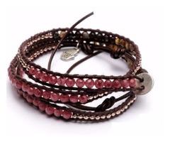 Cherry Quartz Brown Leather Wrap Women Bracelet