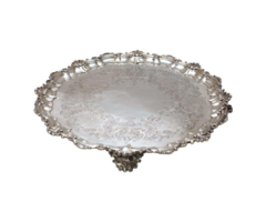 English Sterling Silver Victorian Round Footed Tray