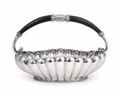 German Silver Hammered Basket