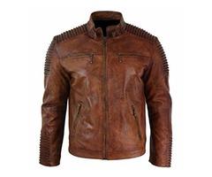 Men's Biker Vintage Style Cafe Racer Wax Distressed Brown Cowhide Leather Jacket