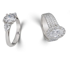 Round & Baguette Diamond Engagement Ring in 18k White Gold