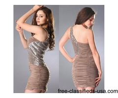 One Shoulder Pleated Sheath Homecoming Dress with Handmade