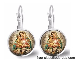 Our Lady Of Guadalupe Silver Plated Leverback Earrings