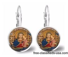 Christian Blessed Mother Virgin Mary Jesus Earrings
