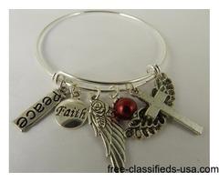 Handmade Christian Bangle Charm Bracelet Faith Cross Wings