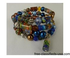 Handmade Memory Wire Colorful Glass Bead Crystal Bracelet