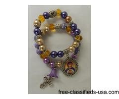 Set Virgin Mary Stacked Beaded Bracelets Gold Purple Christian Gift