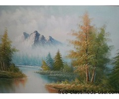 MOUNTAIN LAKE FOREST OIL PAINTING