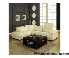Bella Off white Leather Sectional Sofa