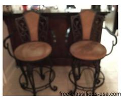 2 wrought Iron bar stools