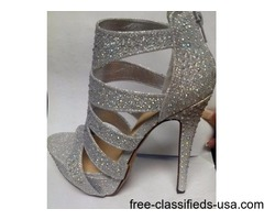 SILVER STUD HIGH HEEL SANDALS