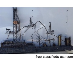 Oilfield metal wall sculpture