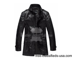 BLACK EXECUTIVE SLIM FIT TRENCH COAT