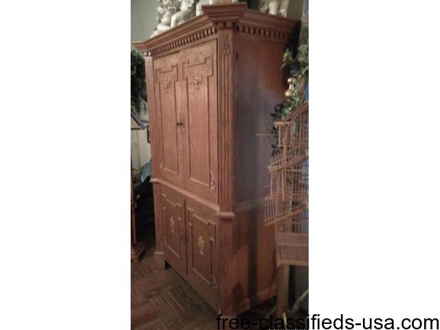 Custom handmade red wood armoire | free-classifieds-usa.com