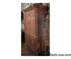 Custom handmade red wood armoire