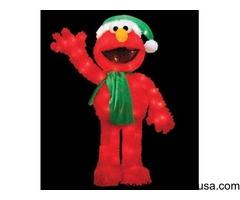 32-inch Pre-Lit Soft Faux Fur Sesame Street Elmo Christmas Decoration