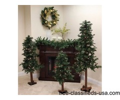 Set of 3 Pre-Lit Woodland Alpine Artificial Christmas Trees 4, 5 and 6