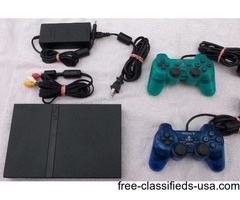 PS2 Slim with 2 Controllers and 11 Good Games For Sale!