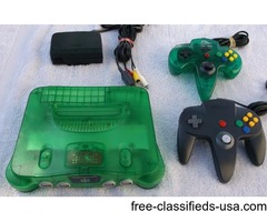 N64 Jungle Green w 2 Controllers, 2 Accessories & 9 Games