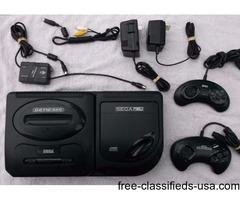 Sega Genesis 2nd Generation with 2 Controllers, CD Attachment & 30
