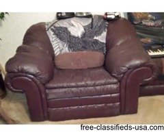 Overstuffed Leather Chair& Ottoman