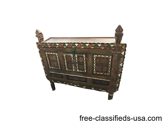 Antique Console Damchia Sideboard Hand Carved Indian Chest Home Furniture Garden Supplies