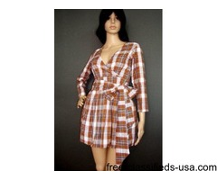 Ladies Crossover Belted Check Dress-Sm, Med, Large, XL