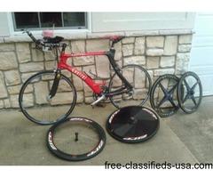 Carbon Fiber Kestrel 56 cm Tri bike with three sets of race/training