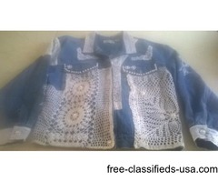VINTAGE DENIM LACE & PEARL JEAN JACKET-LARGE
