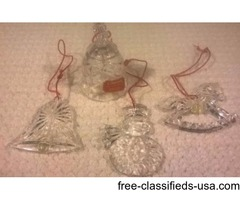 VINTAGE GORHAM FULL LEAD CRYSTAL CHRISTMAS ORNAMENTS