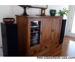 Stickley Mission Oak Television Entertainment Center Cabinet